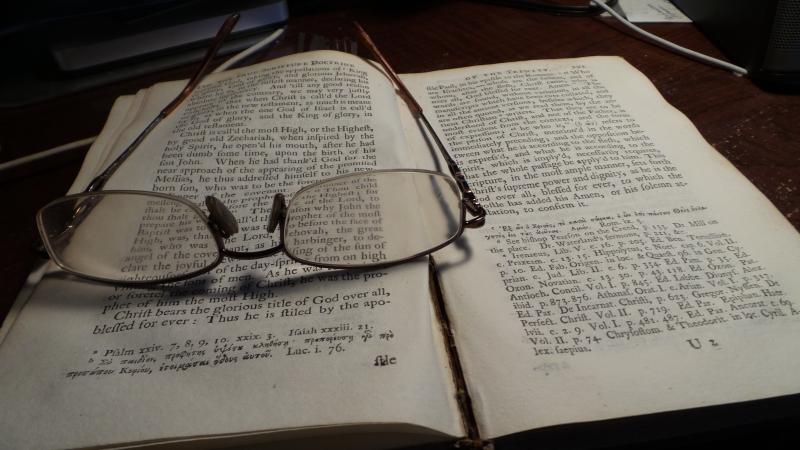 Anticque book & glasses